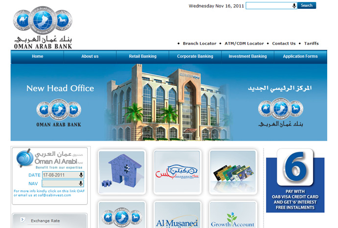 Oman Arab Bank Website Development