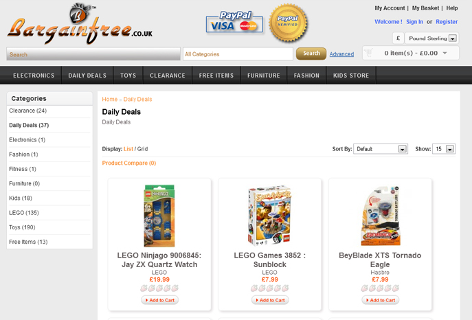 Bargain Free e-Commerce Website